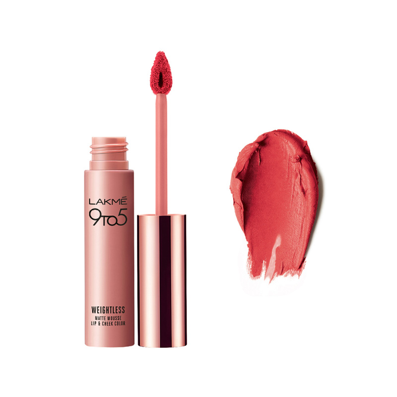 Lakme 9 To 5 Weightless Matte Mousse Lip & Cheek Color Pink Plush 9gm