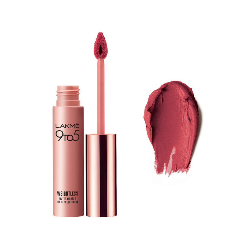 Lakme 9 To 5 Weightless Matte Mousse Lip & Cheek Color Plum Feather 9gm